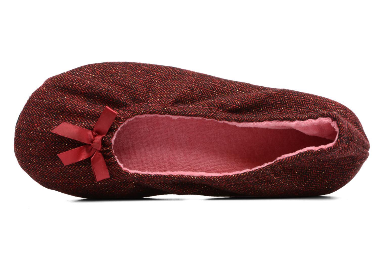 Pantuflas Isotoner Ballerine chevron lurex Vino vista lateral izquierda