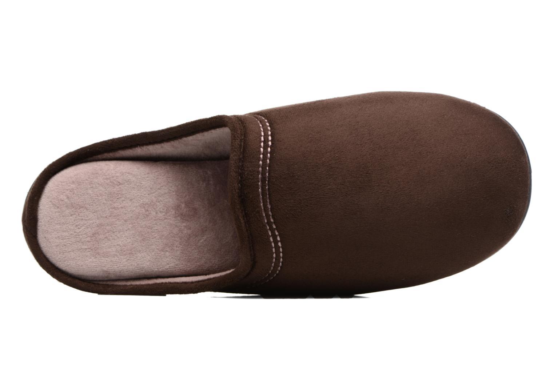 Mule compensée suédine marron