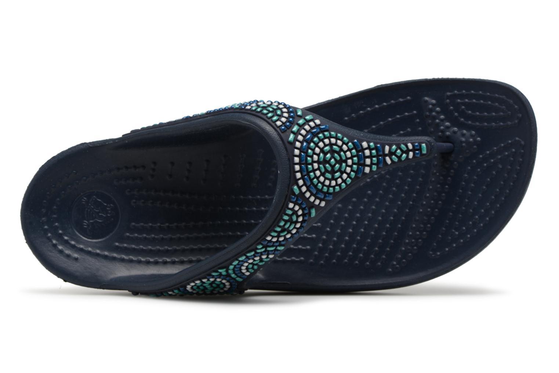 Sandales et nu-pieds Crocs Sloane Beaded Flip Bleu vue gauche