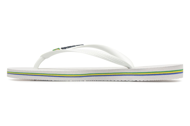 Tongs Havaianas Slim Brasil Logo Blanc vue face