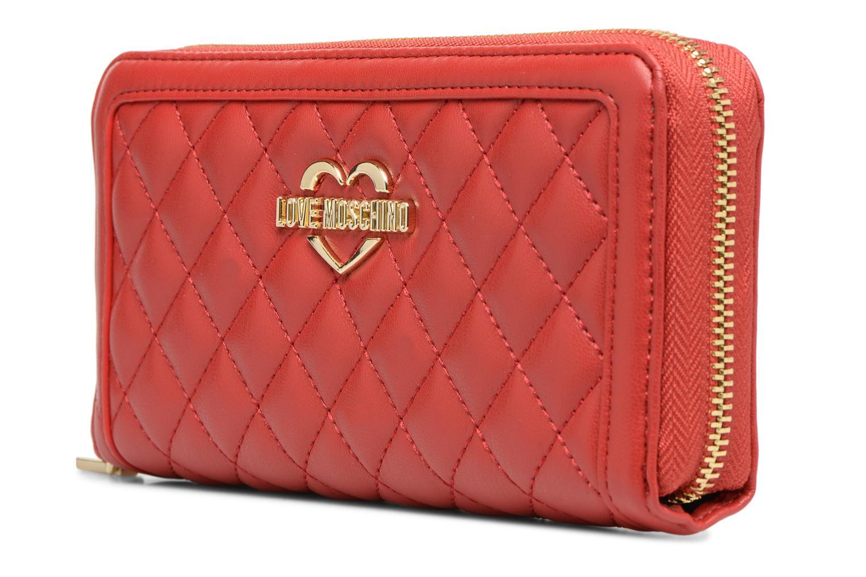 Pelletteria Love Moschino Portefeuille Super Quilted Rosso modello indossato