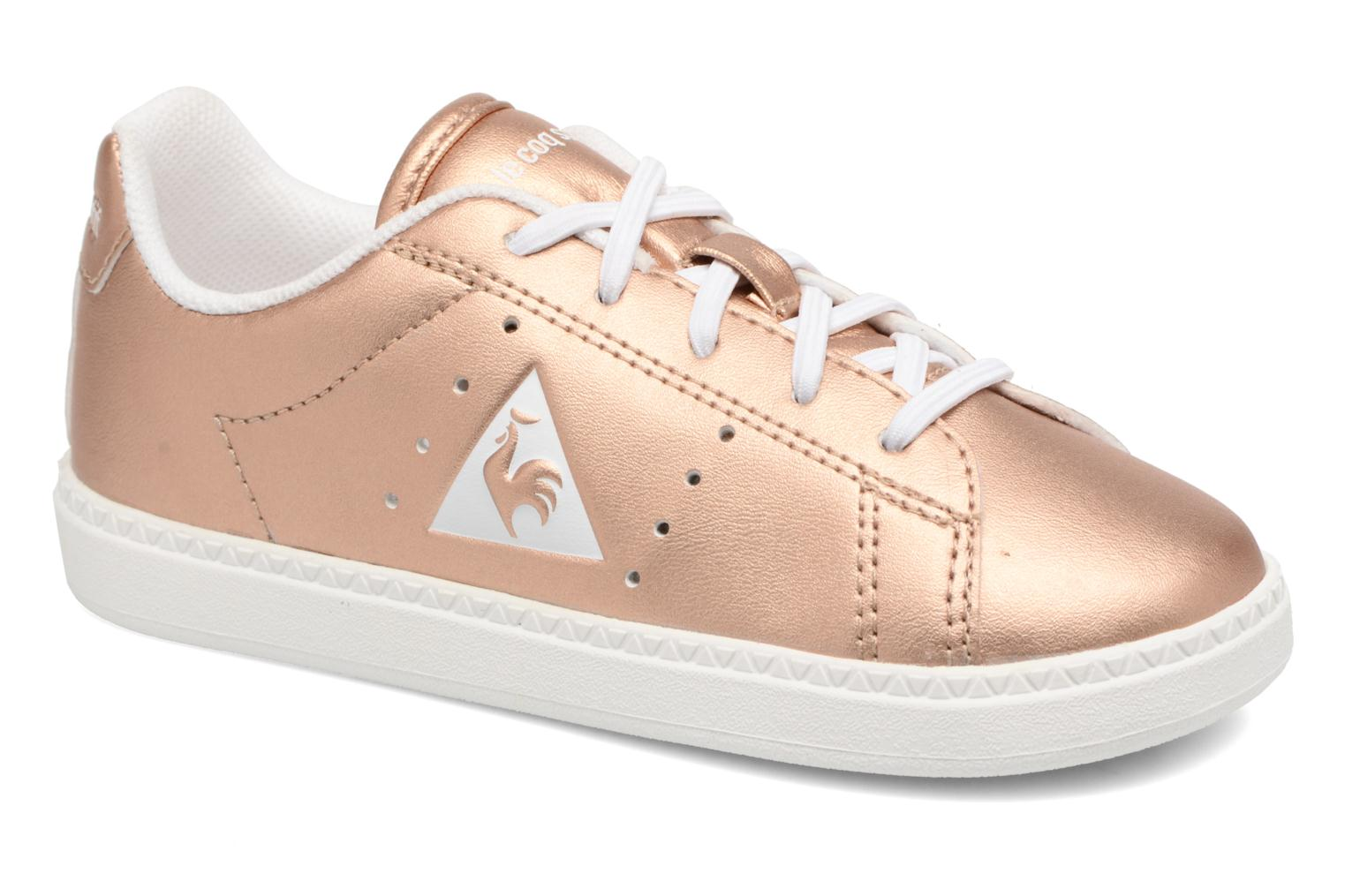Trainers Le Coq Sportif Courtone Inf Metallic Bronze and Gold detailed view/ Pair view