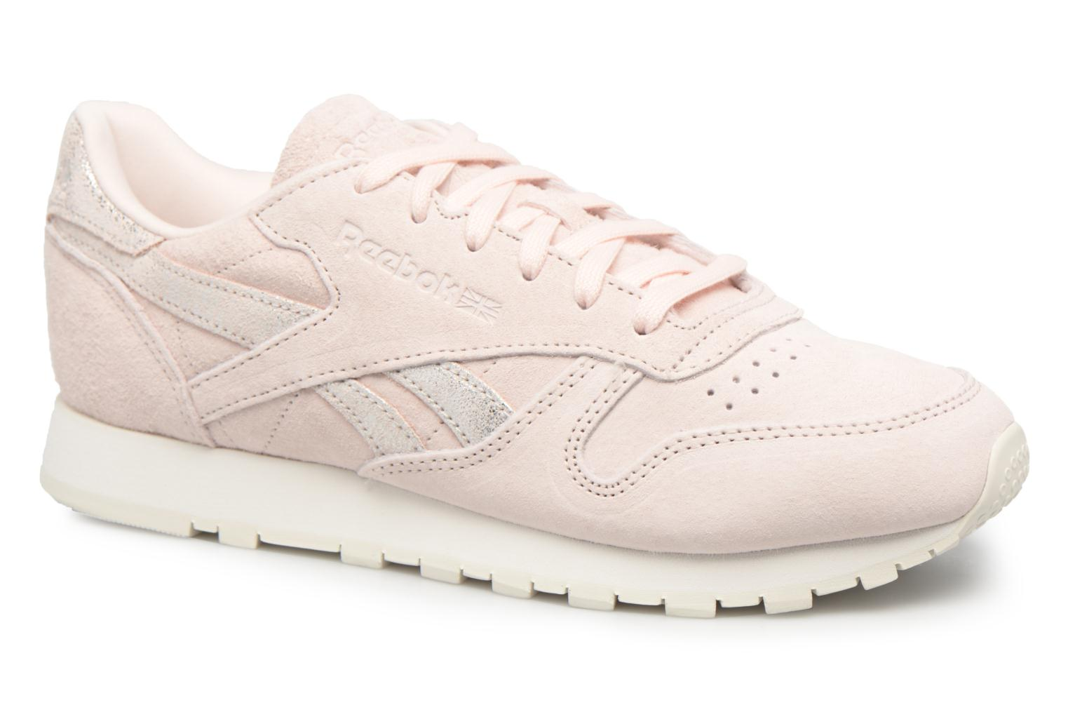 Classic Leather Shimmer Pale Pink/Matte Silver/Chalk