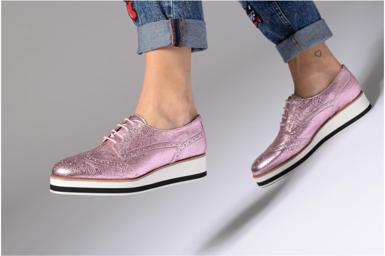 90's Girls Gang Chaussures à Lacets #4 Cuir métalisé argent