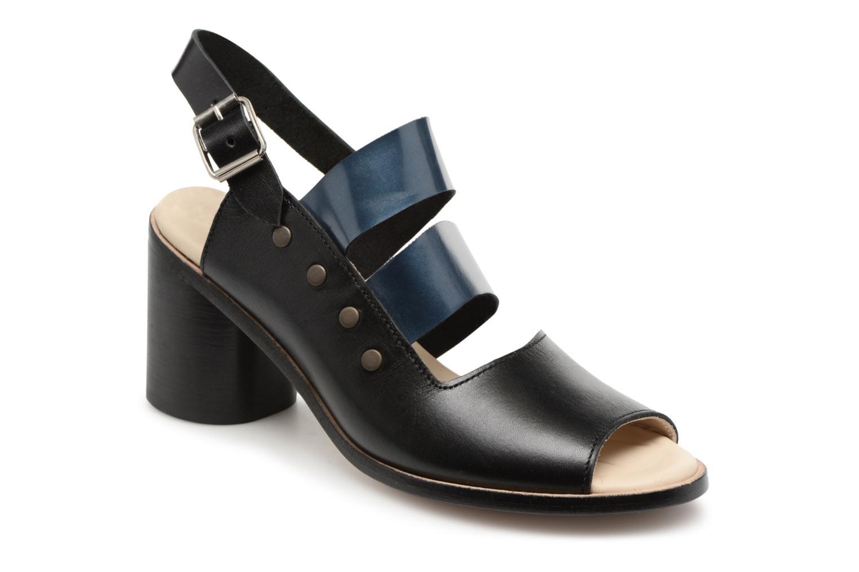 Marques Chaussure femme Deux Souliers femme Asymmetrical Sandal #1 Black and flotantic petrol