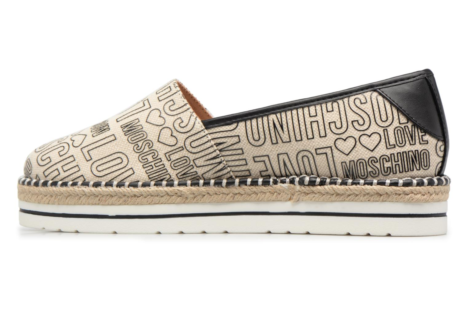 Espadrilles Love Moschino Canvas Embossed Logo JA10083G15 Beige vue face