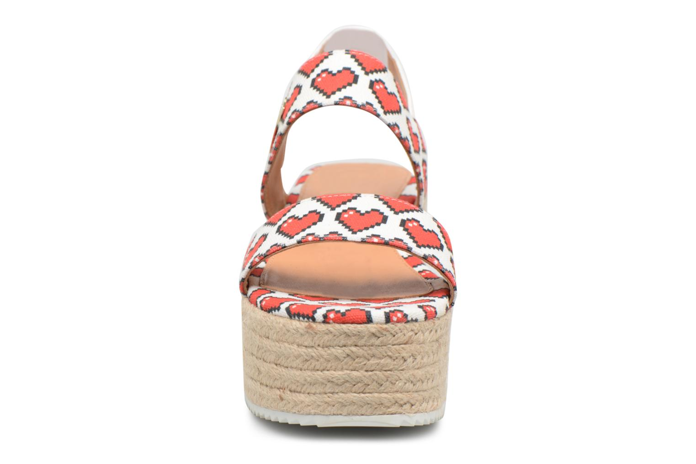 Espadrilles Love Moschino Digital Hearts JA16077I15 Blanc vue portées chaussures