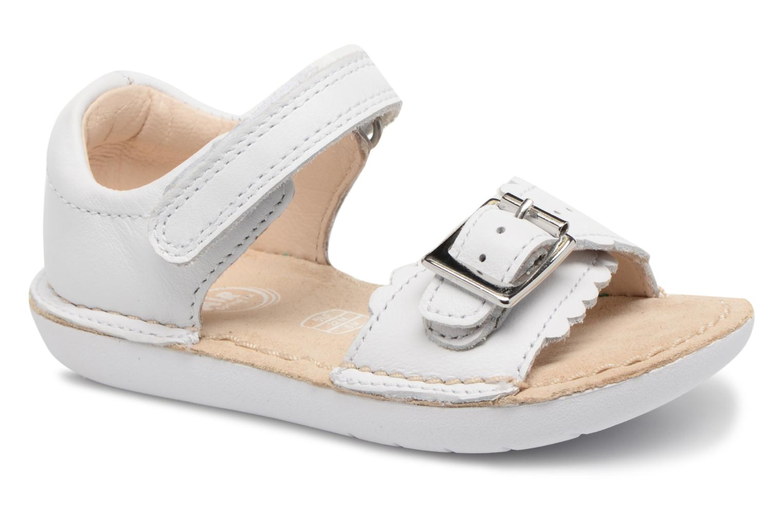 Sandals Clarks Ivy Flora White detailed view/ Pair view