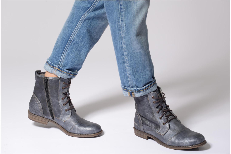 Bottines et boots Mustang shoes 1157549 Damen Schnür-Booty Bleu vue bas / vue portée sac