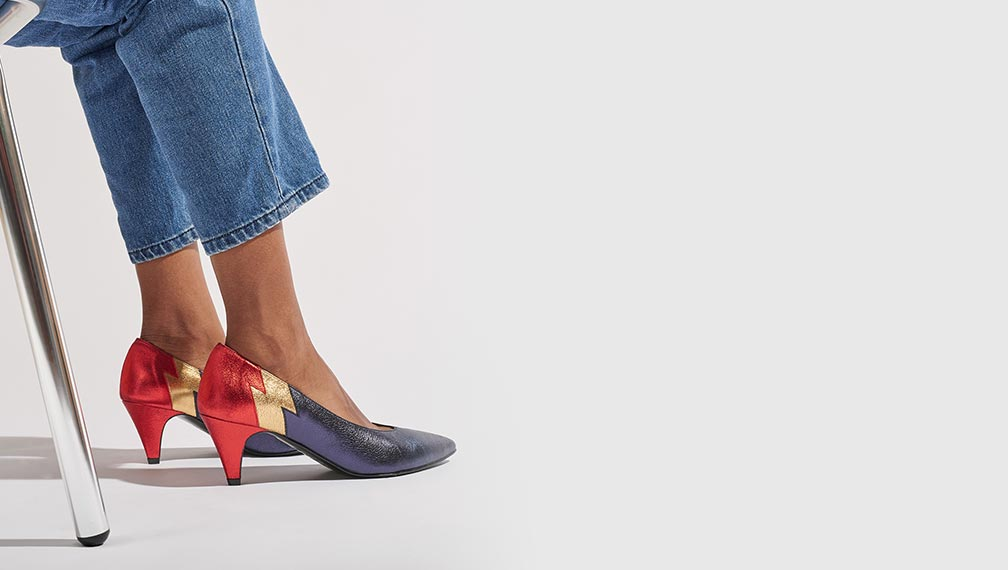 Escarpins trotter bleus et rouges