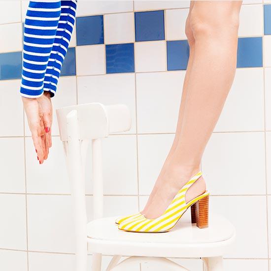Sarenza Kollektion Pumps gelb gestreift Streifen Damenschuhe Schuhe