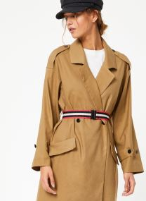 Longer length drapy trench coat comes with a waist-belt