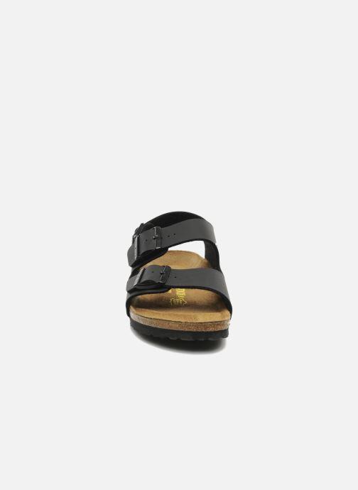 Sandalen Birkenstock Milano Flor M schwarz schuhe getragen