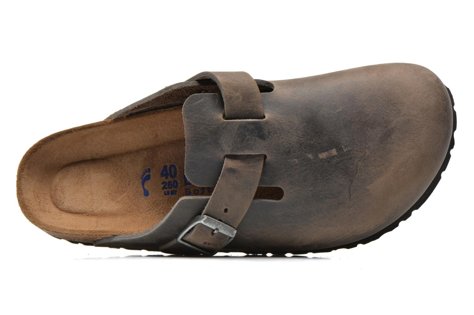 Sandals Birkenstock Boston Cuir M Grey view from the left