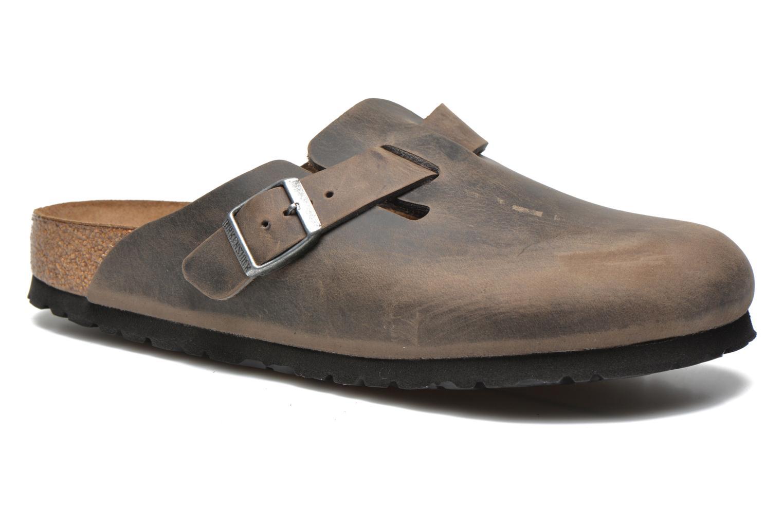 Sandals Birkenstock Boston Cuir M Grey detailed view/ Pair view