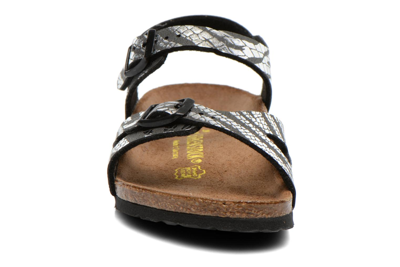 Sandalen Birkenstock Rio silber schuhe getragen