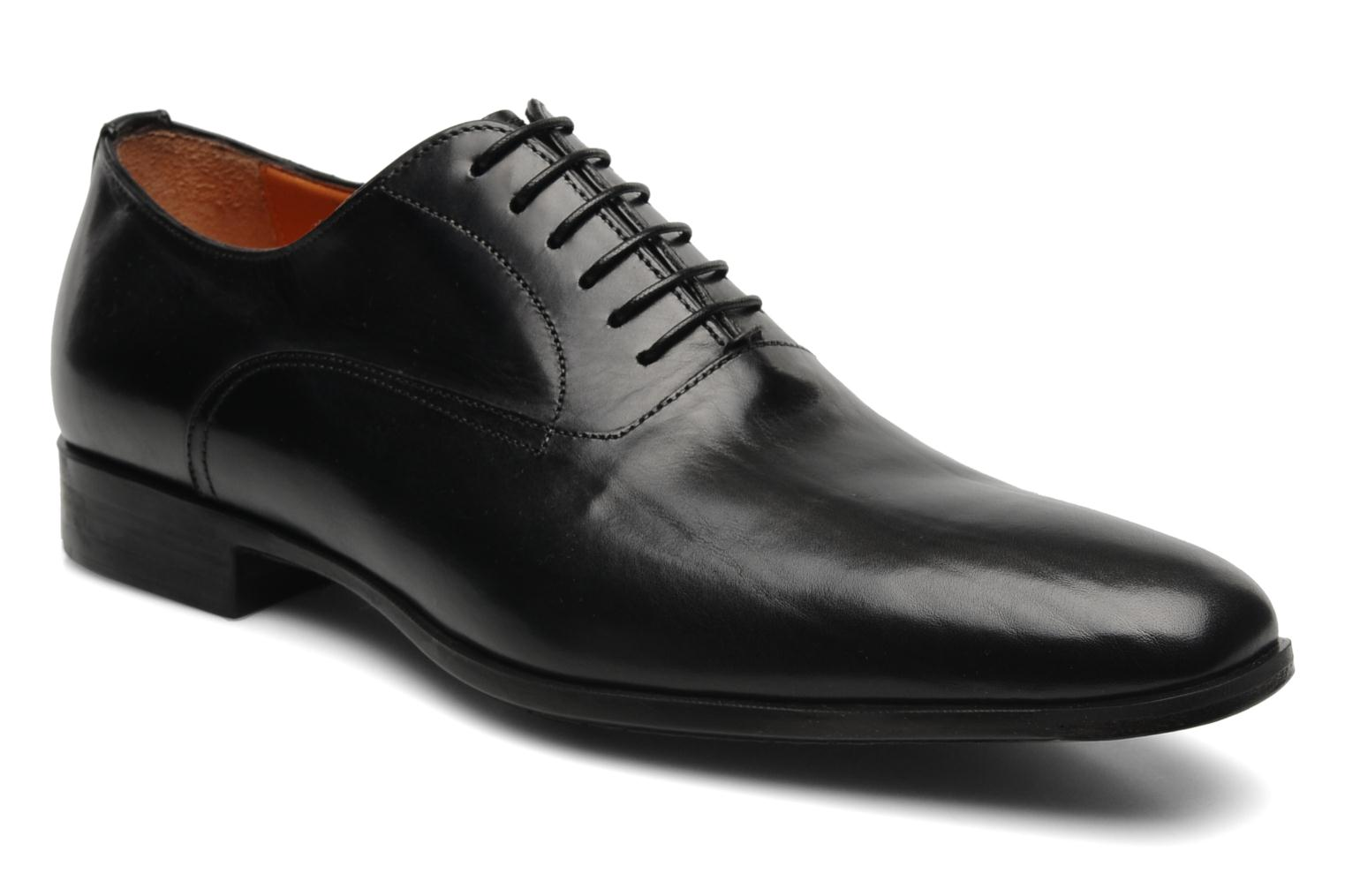 Lace-up shoes Santoni William 07413 Black detailed view/ Pair view