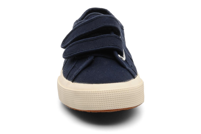 Baskets Superga 2750 J Velcro E Bleu vue portées chaussures