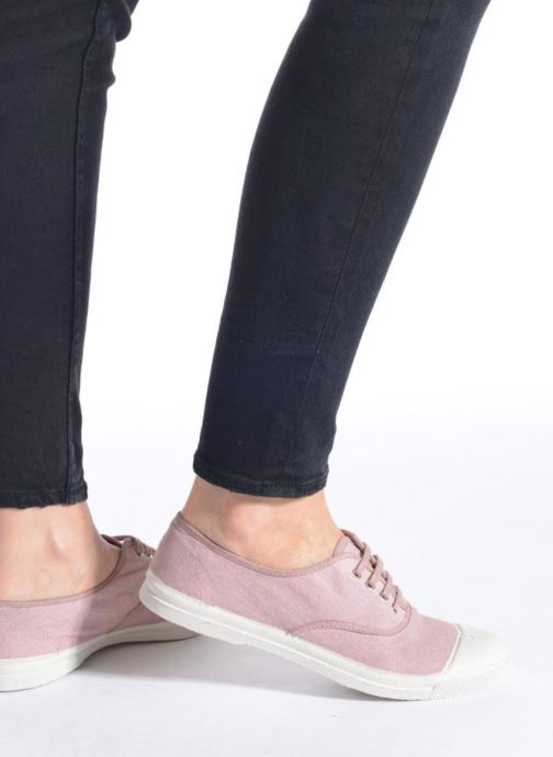 Trainers Bensimon Tennis Lacets Pink view from underneath / model view