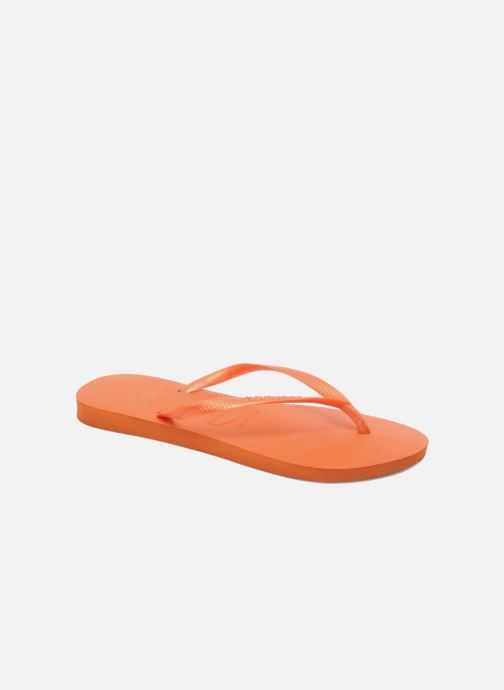 Tongs Havaianas Slim Metallic F Orange vue détail/paire