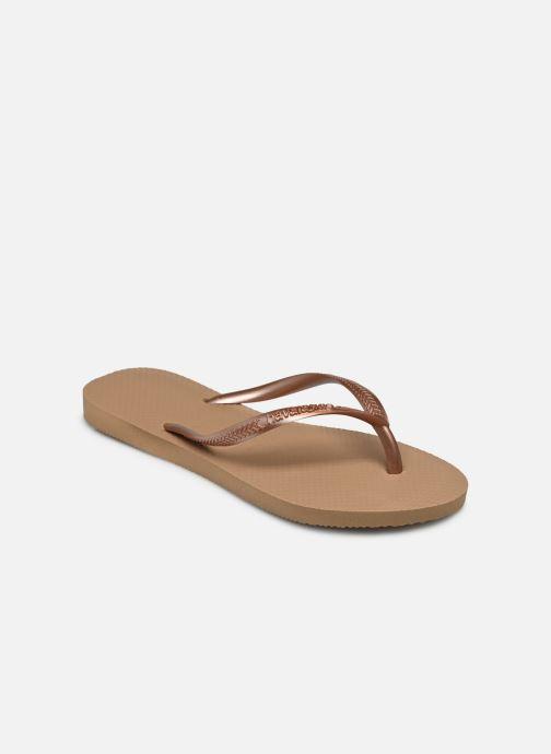 Tongs Havaianas Slim Metallic F Or et bronze vue portées chaussures