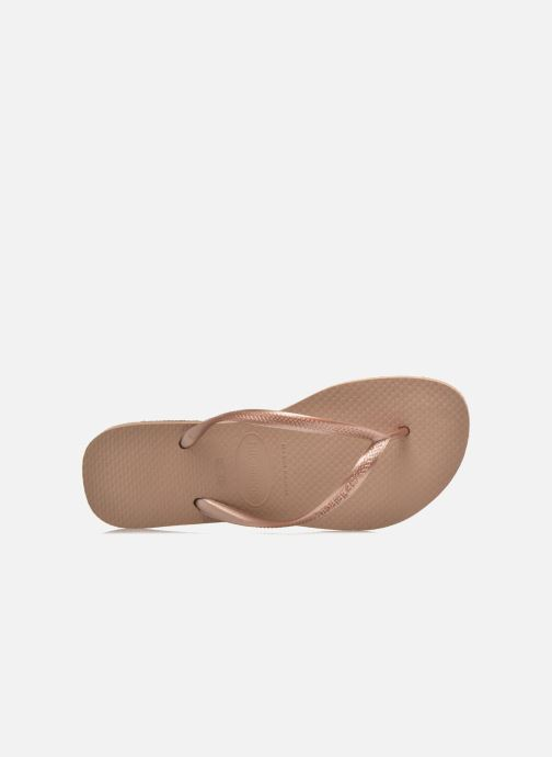 Flip flops Havaianas Slim Métallic Femme Bronze and Gold view from the left