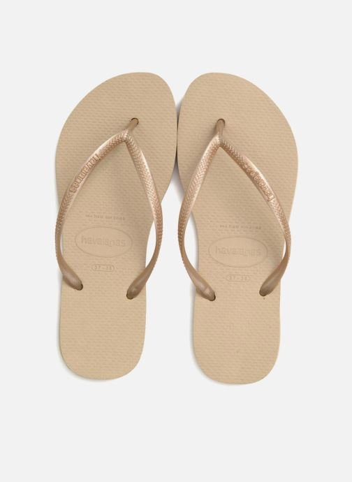 Slippers Havaianas Slim Métallic Femme Beige 3/4'