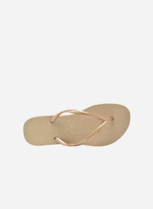 Tongs Havaianas Slim Metallic F Beige vue gauche