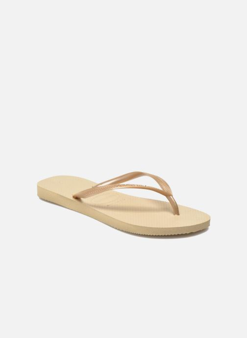 Tongs Havaianas Slim Metallic F Beige vue détail/paire