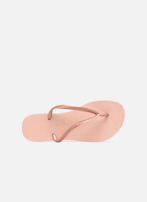 Tongs Havaianas Slim Metallic F Rose vue gauche