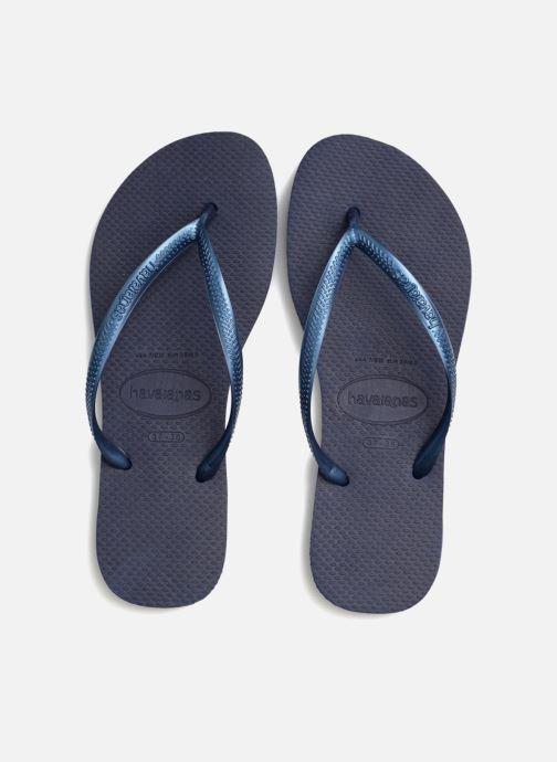 Tongs Havaianas Slim Metallic F Bleu vue 3/4