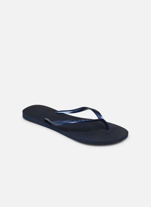 Tongs Havaianas Slim Metallic F Bleu vue portées chaussures