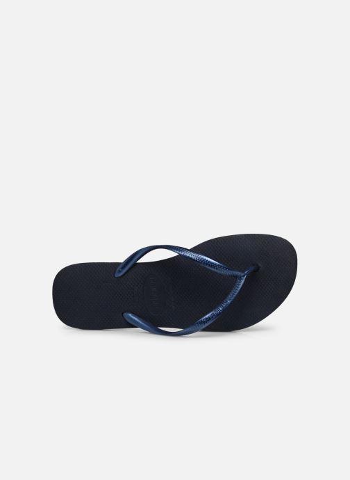Tongs Havaianas Slim Metallic F Bleu vue gauche