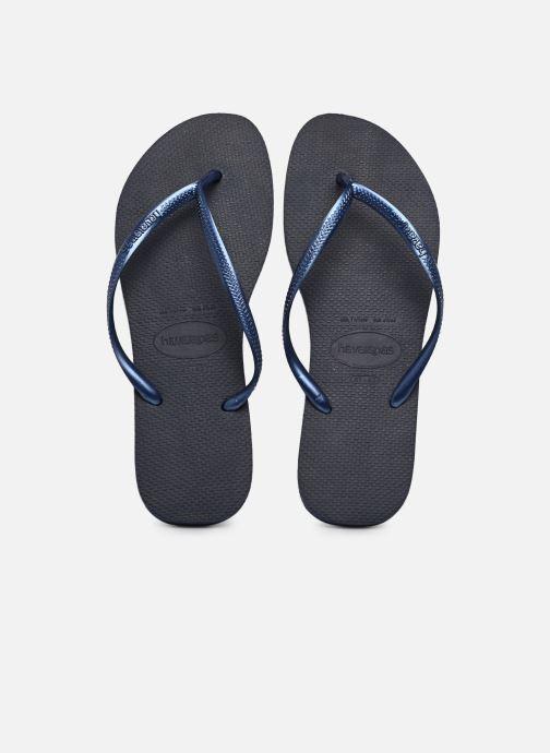 Flip flops Havaianas Slim Métallic Femme Blue detailed view/ Pair view