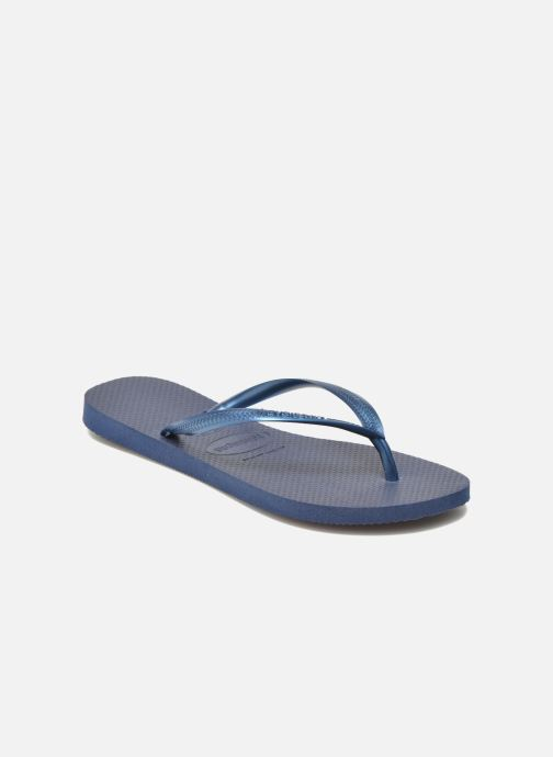 Tongs Havaianas Slim Metallic F Bleu vue détail/paire