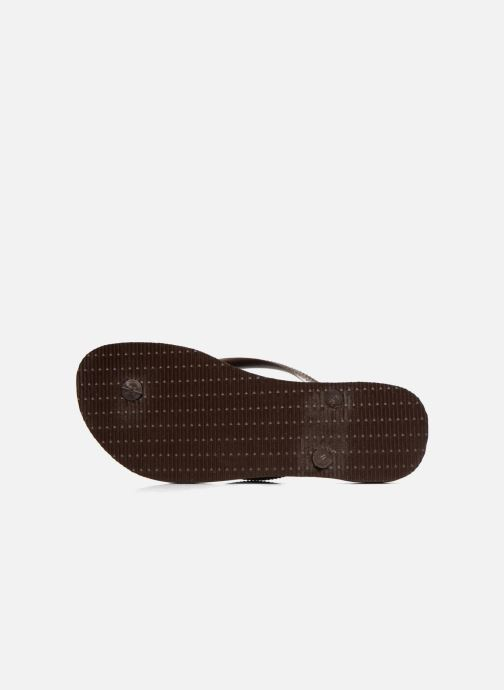 Tongs Havaianas Slim Metallic F Marron vue haut