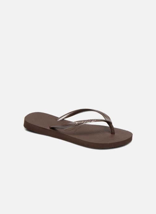 Slippers Havaianas Slim Métallic Femme Bruin detail