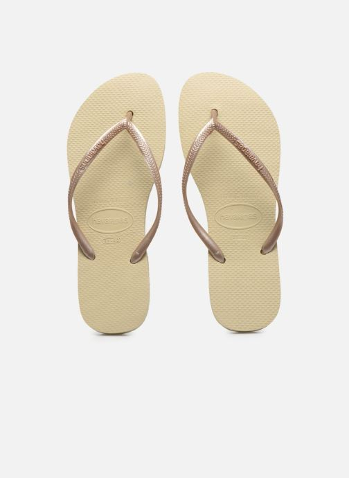 Tongs Havaianas Slim Metallic F Beige vue portées chaussures