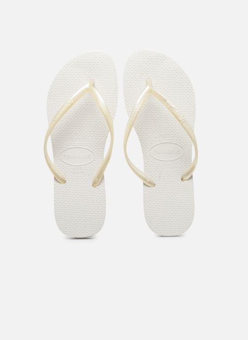 Tongs Havaianas Slim Metallic F Blanc vue portées chaussures