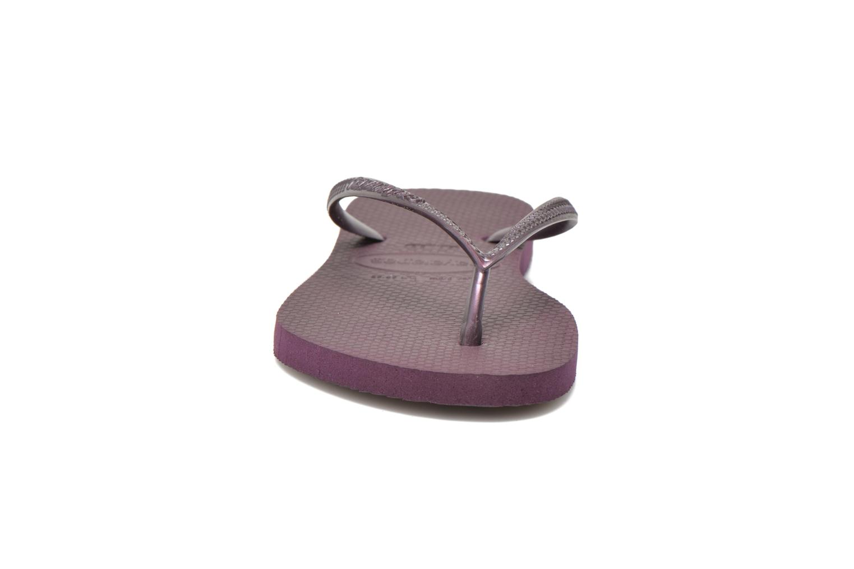 Tongs Havaianas Slim Metallic F Violet vue portées chaussures