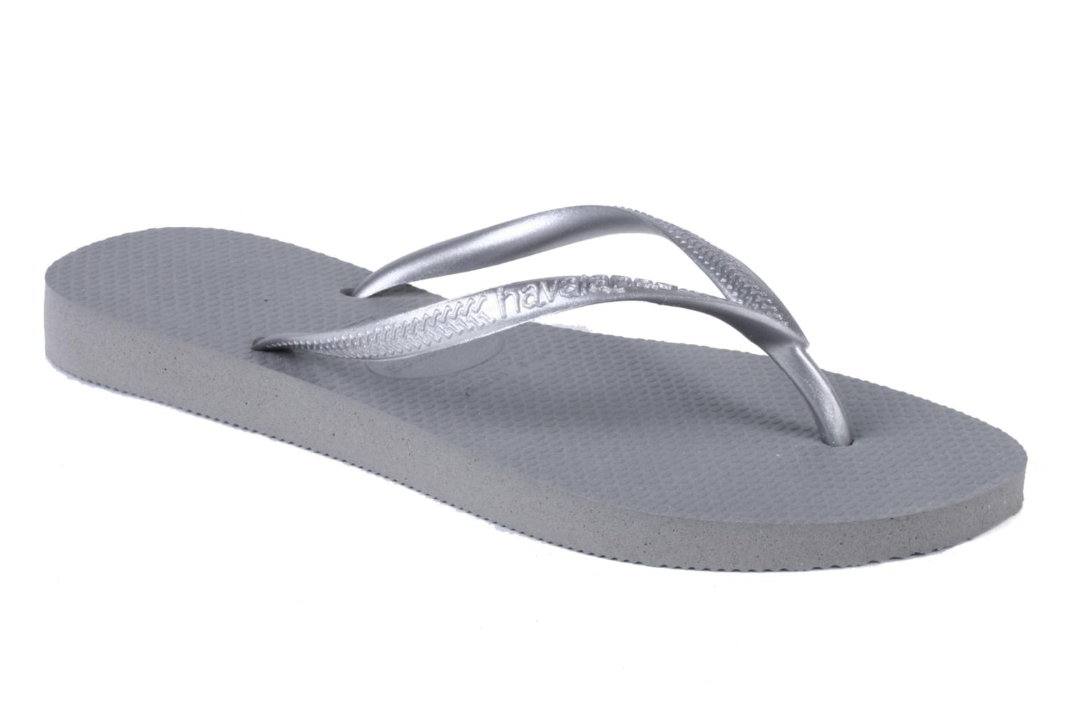 Tongs Havaianas Slim Metallic F Gris vue détail/paire