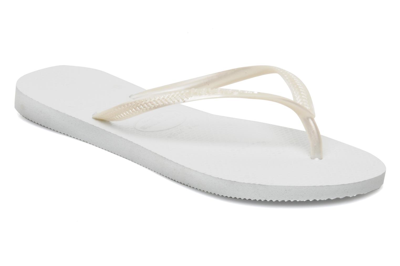 Tongs Havaianas Slim Metallic F Blanc vue détail/paire