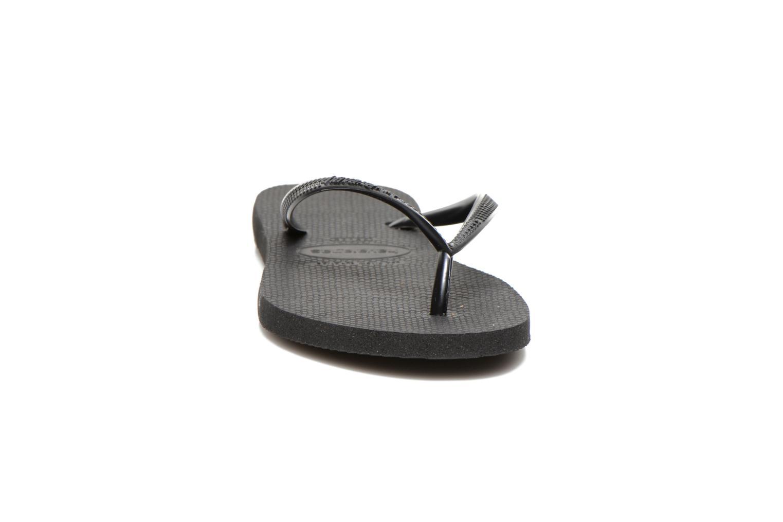 Tongs Havaianas Slim Metallic F Noir vue portées chaussures