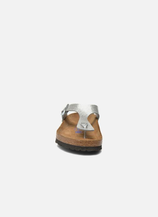 Clogs & Pantoletten Birkenstock Gizeh Flor W silber schuhe getragen