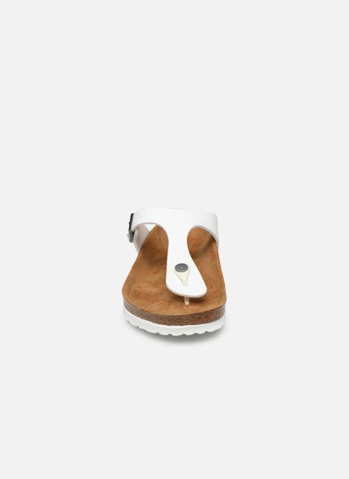 Mules et sabots Birkenstock Gizeh Flor W Blanc vue portées chaussures
