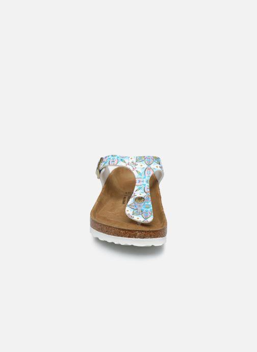 Clogs & Pantoletten Birkenstock Gizeh Flor W weiß schuhe getragen