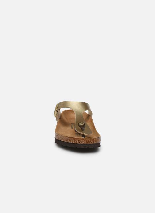 Clogs & Pantoletten Birkenstock Gizeh Flor W gold/bronze schuhe getragen