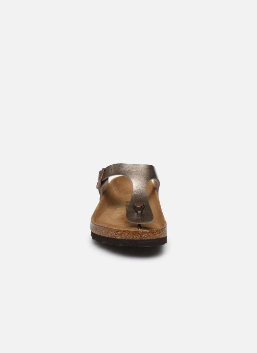 Mules et sabots Birkenstock Gizeh Flor W Or et bronze vue portées chaussures