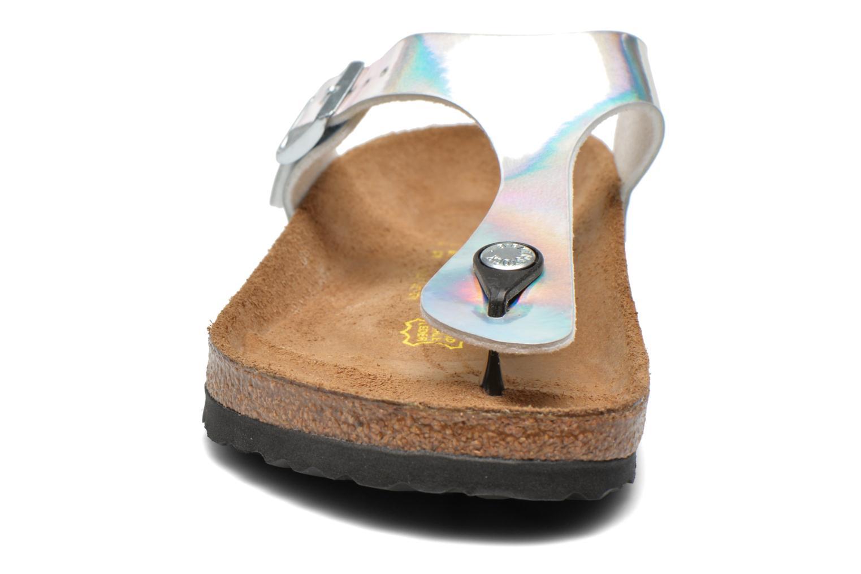 Sandales et nu-pieds Birkenstock Gizeh Flor W Argent vue portées chaussures