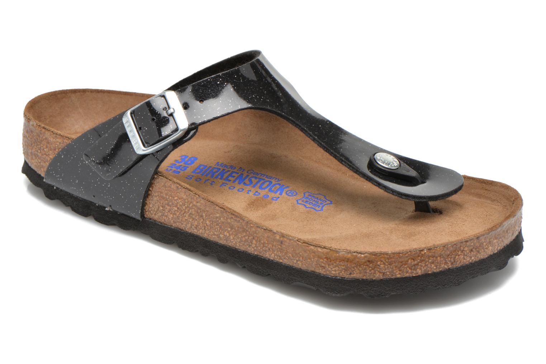 Sandales et nu-pieds Birkenstock Gizeh Flor W Noir vue détail/paire
